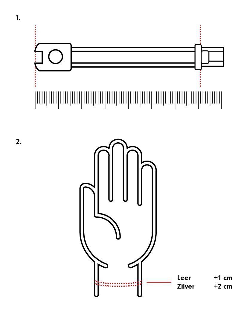 Opmeten zilveren armbanden