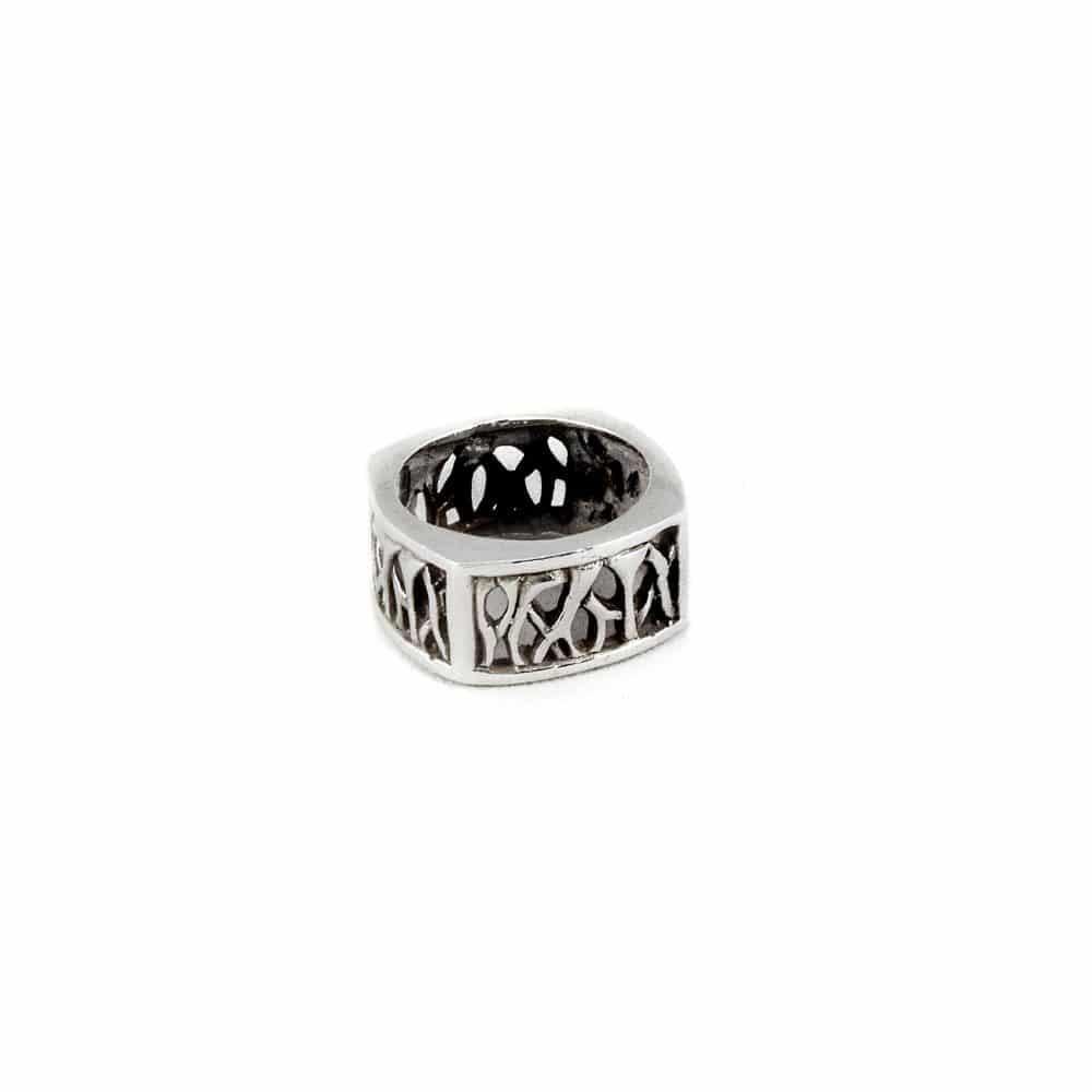 Segoya Batem hoog gehalte zilveren ring, handgemaakt in Bali.