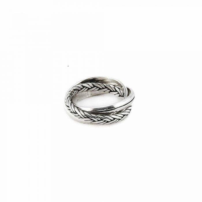 Segoya Sekae hoog gehalte zilveren ring, handgemaakt in Bali.
